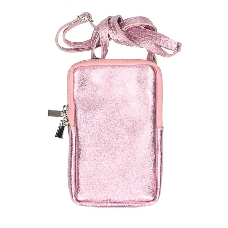 Leather strap pocket for MobileMI197 pink Made in Italy