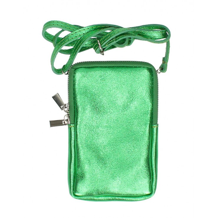 Leather strap pocket for MobileMI197 green Made in Italy
