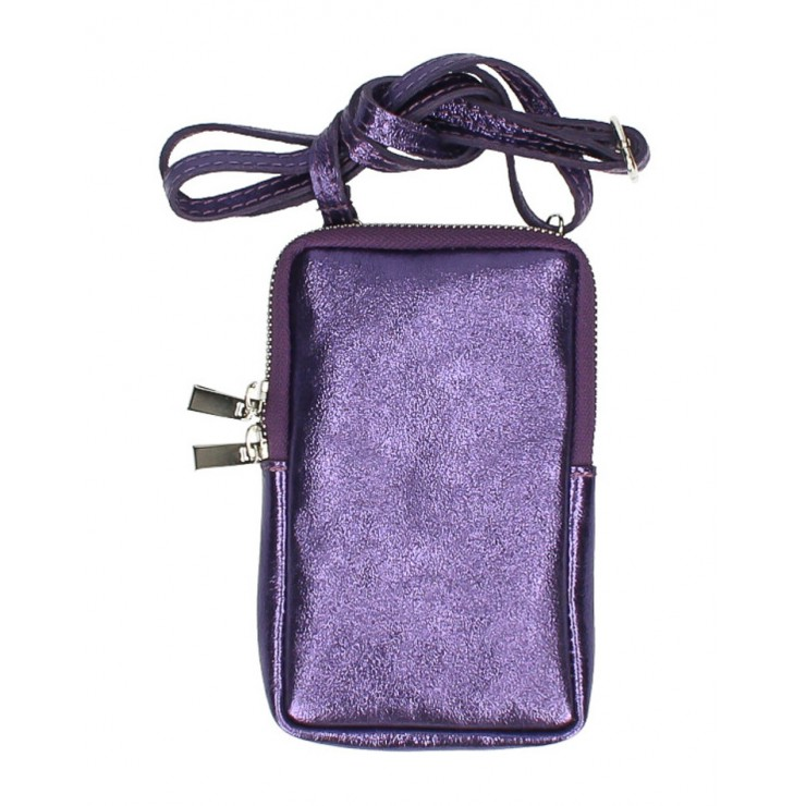 Leather strap pocket for MobileMI197 purple Made in Italy