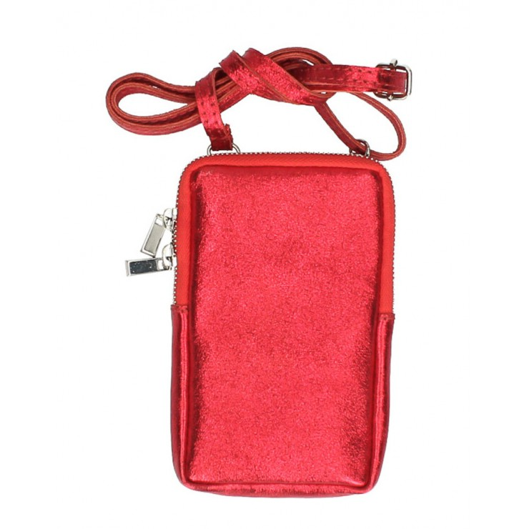 Leather strap pocket for MobileMI197 red Made in Italy