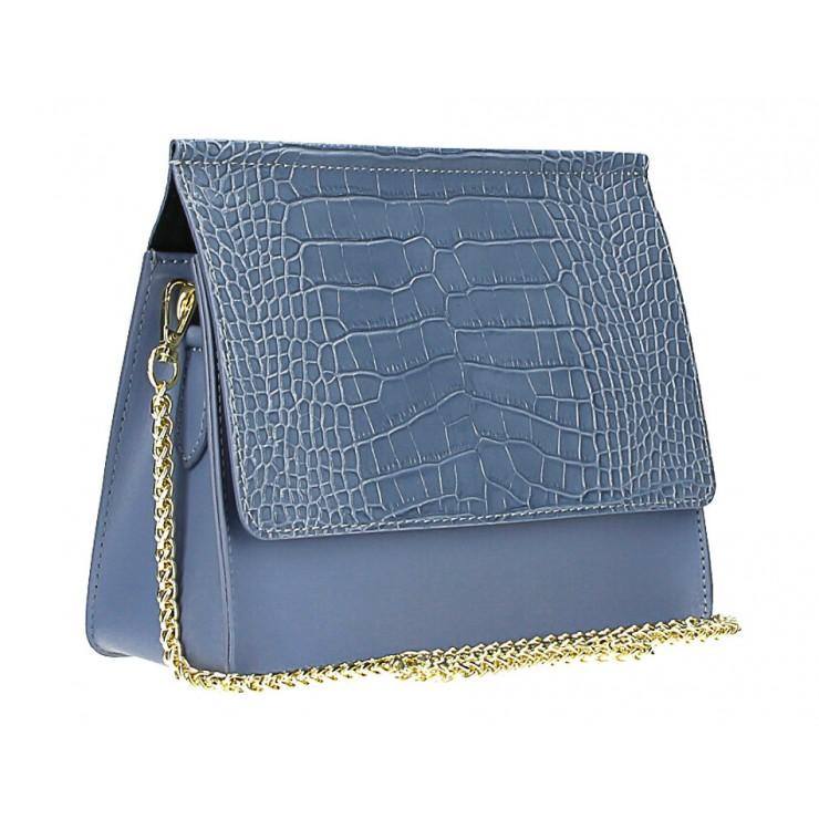 Kožená kabelka MI248 nebesky modrá Made in Italy