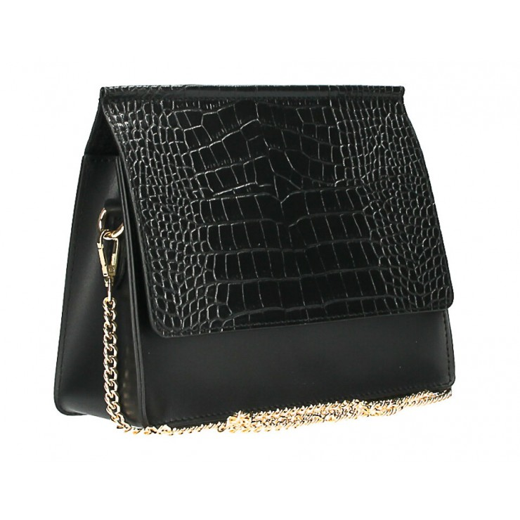 Kožená kabelka MI248 černá Made in Italy