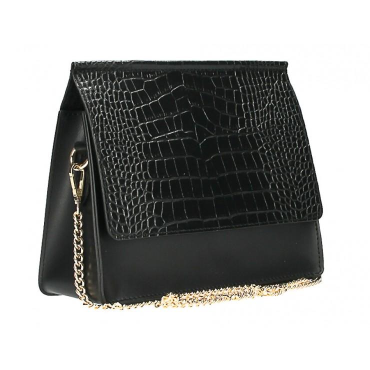 Kožená kabelka MI248 čierna Made in Italy