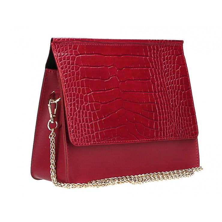 Kožená kabelka MI248 tmavě rudá Made in Italy