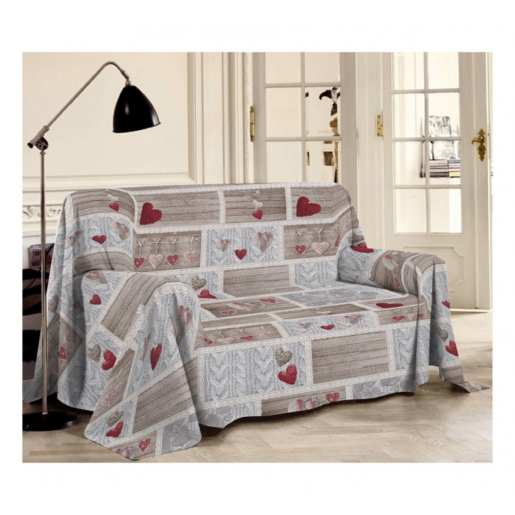 Blanket on the couch Shabby red