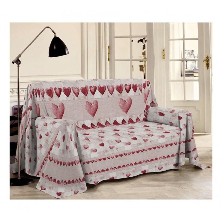 Přikrývka na gauč Patchwork rudá