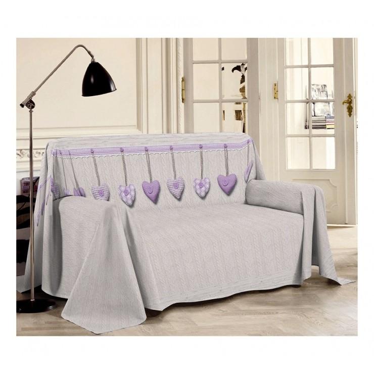 Přikrývka na gauč Visící srdíčka fialová