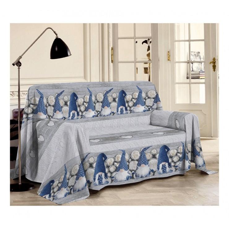 Přikrývka na gauč Skřítci modrá
