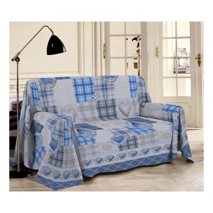 Prikrývka na gauč Hory azurovo modrá