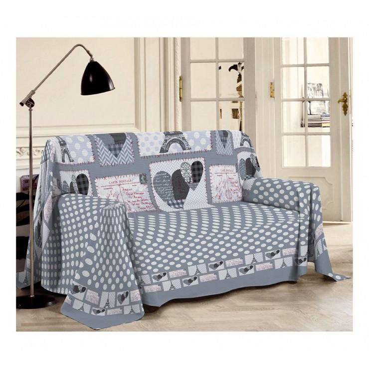 Přikrývka na gauč Paříž šedá