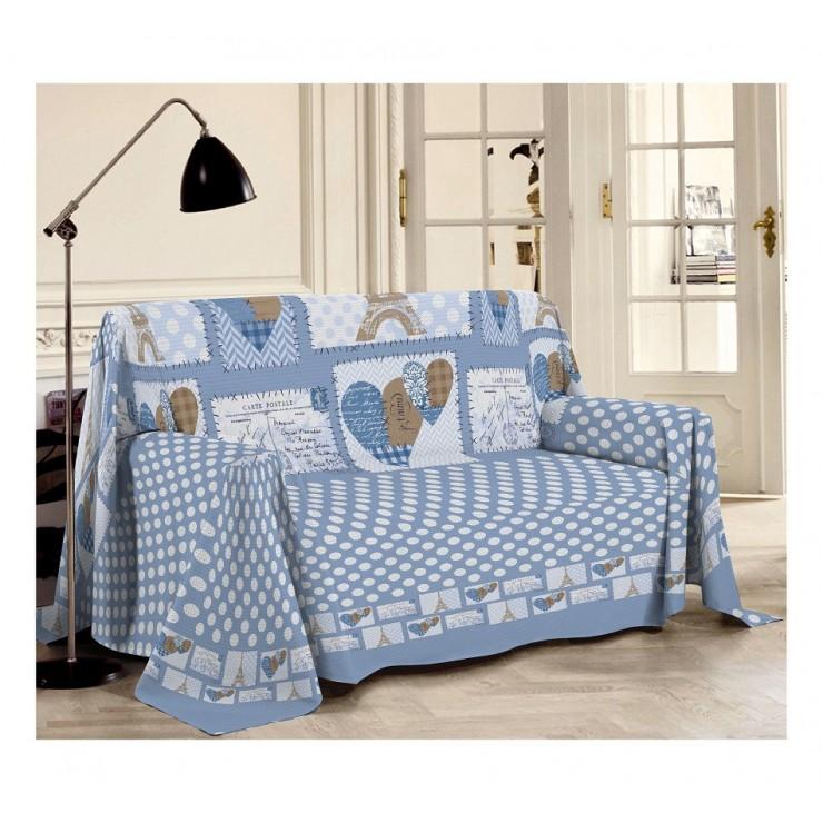 Prikrývka na gauč Paríž azurovo modrá