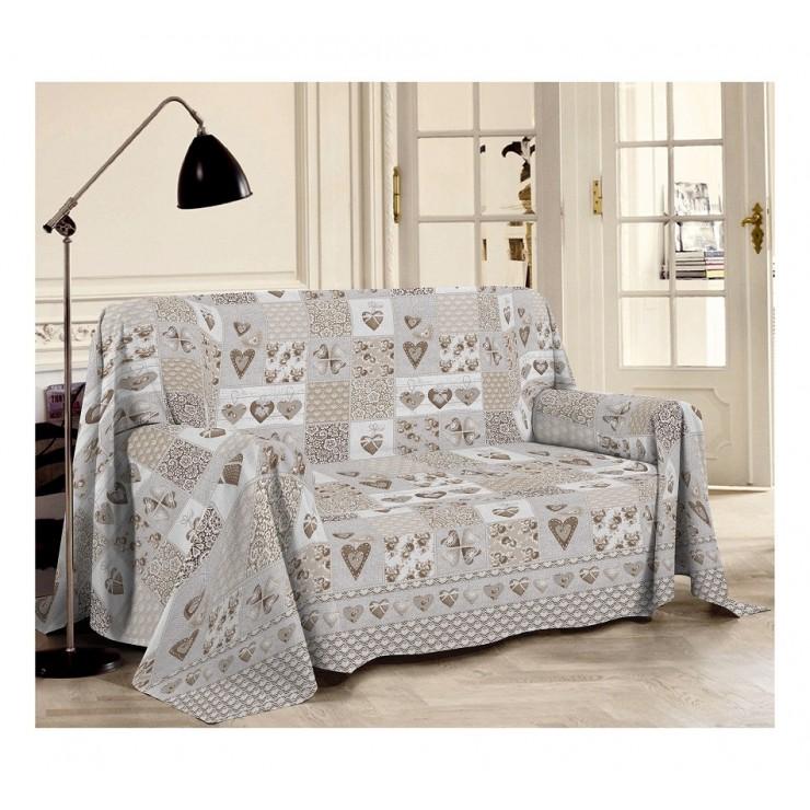 Prikrývka na gauč Patchwrok Primavera béžová