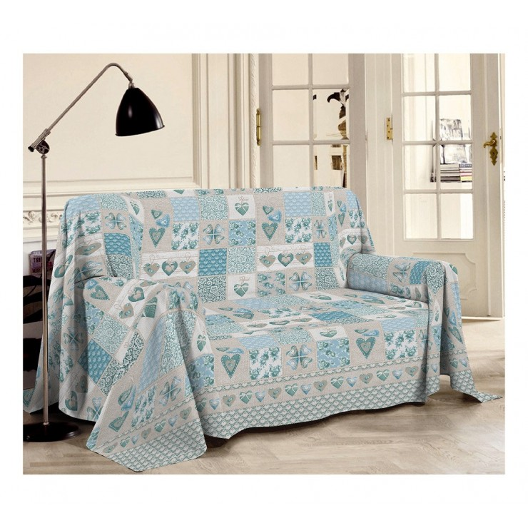 Blanket on the couch Patchwork Primavera turquoise