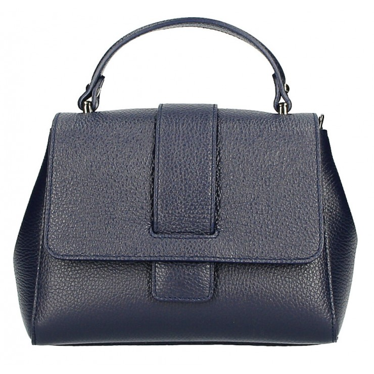 Woman Leather Handbag MI249 dark blue Made in italy