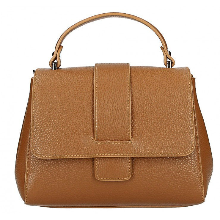 Woman Leather Handbag MI249 cognac Made in italy
