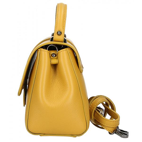 Kožená kabelka MI249 tmavá šedohnedá Made in Italy Šedohnedá