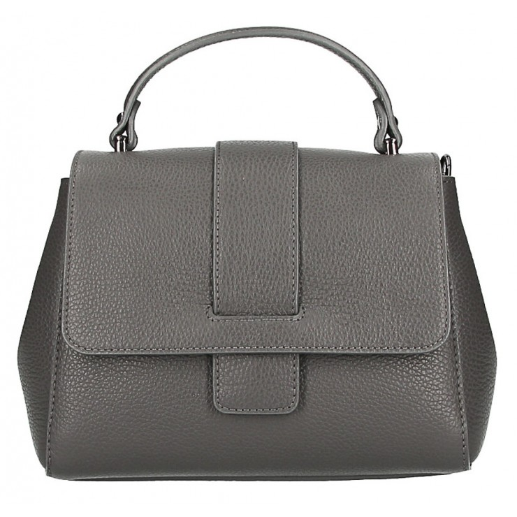 Woman Leather Handbag MI249 dark gray Made in italy