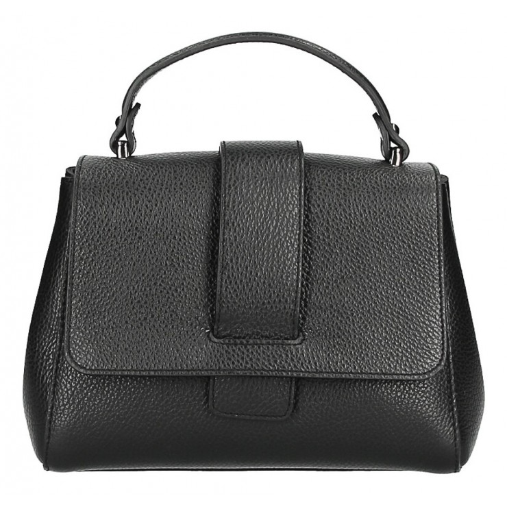 Woman Leather Handbag MI249 black Made in italy