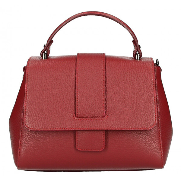 Kožená kabelka MI249 červená Made in Italy Červená