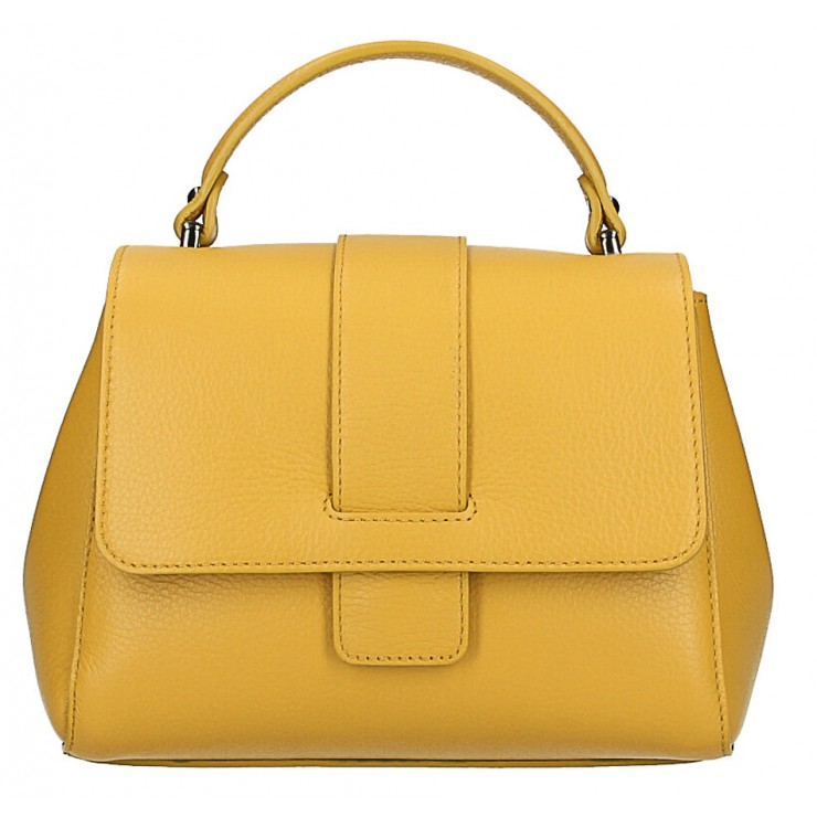 Woman Leather Handbag MI249 mustard Made in italy