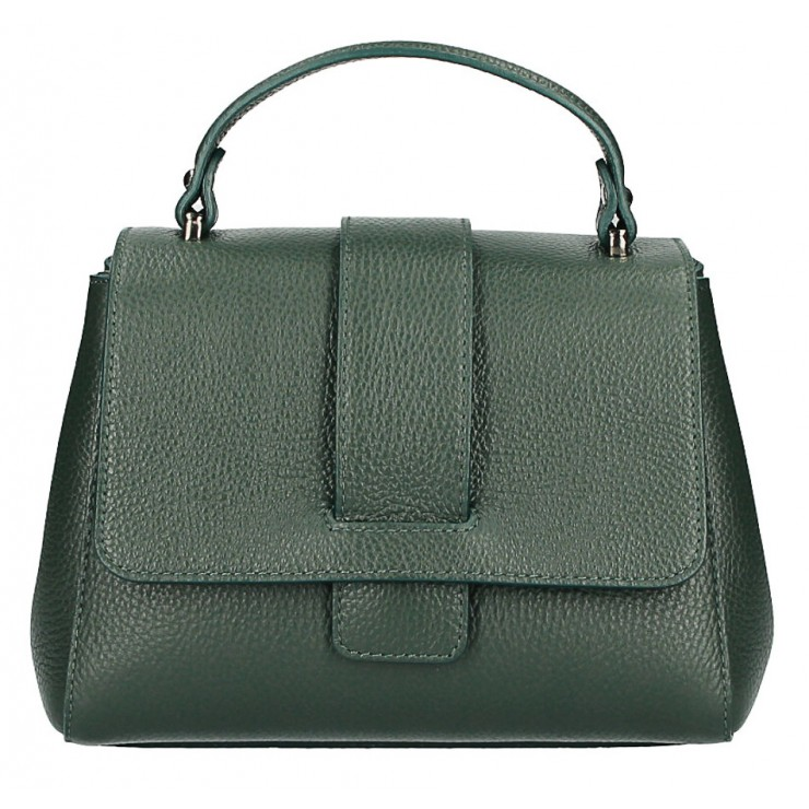 Woman Leather Handbag MI249 dark green Made in italy