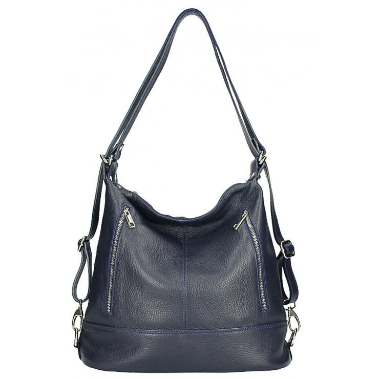 Dámska kožená kabelka/batoh MI258 tmavomodrá Made in Italy