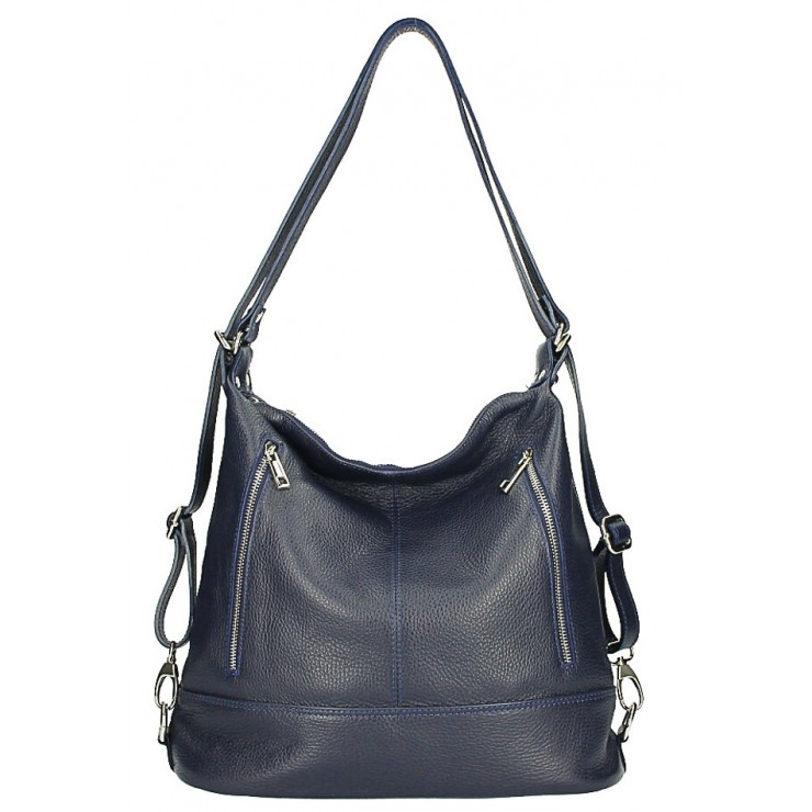 Genuine Leather Shoulderbag/Backpack MI258 dark blue Made in Italy