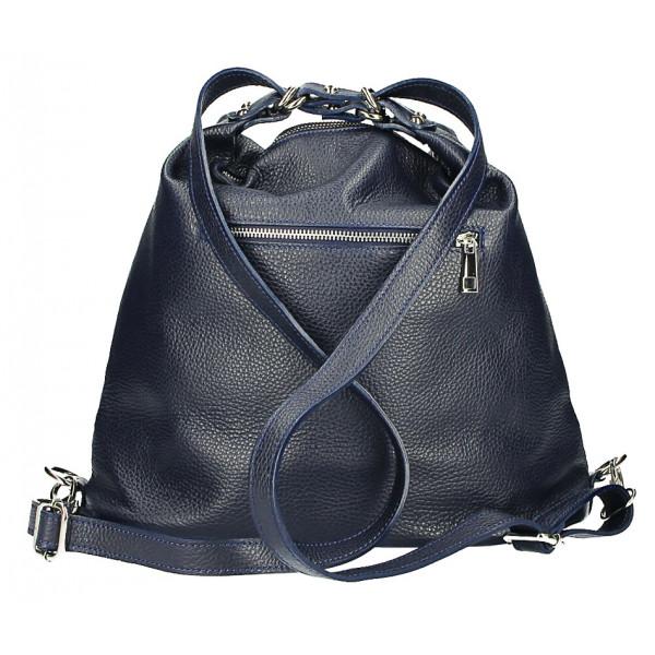 Dámska kožená kabelka/batoh MI258 tmavomodrá Made in Italy Modrá