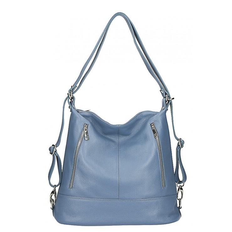 Dámska kožená kabelka/batoh MI258 nebesky modrá Made in Italy
