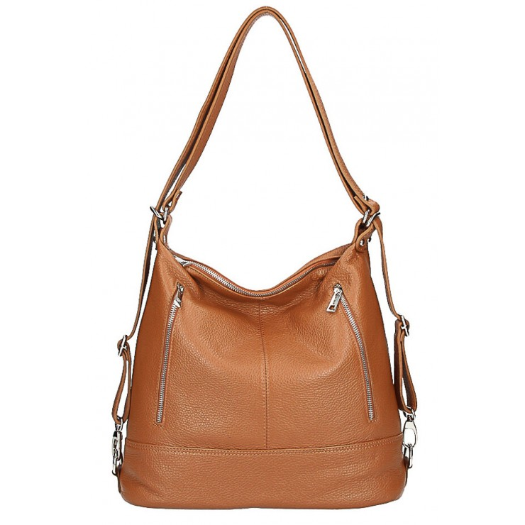 Genuine Leather Shoulderbag/Backpack MI258 cognac Made in Italy
