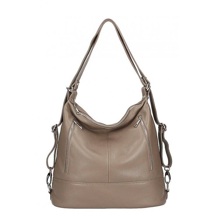 Dámska kožená kabelka/batoh MI258 tmavá šedohnedá Made in Italy