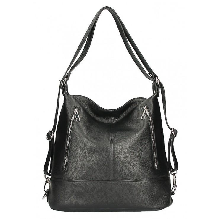 Dámska kožená kabelka/batoh MI258 čierna Made in Italy