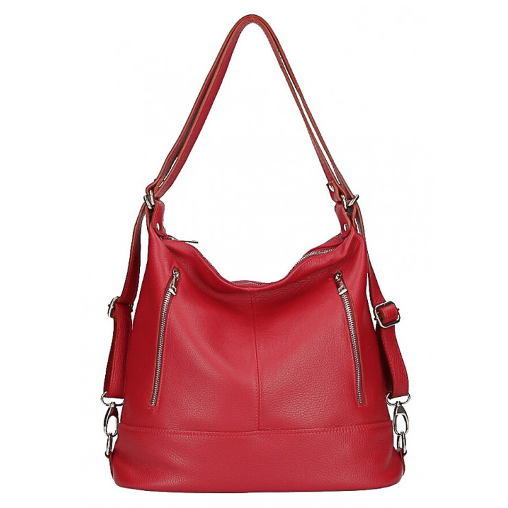 Genuine Leather Shoulderbag/Backpack MI258 red Made in Italy