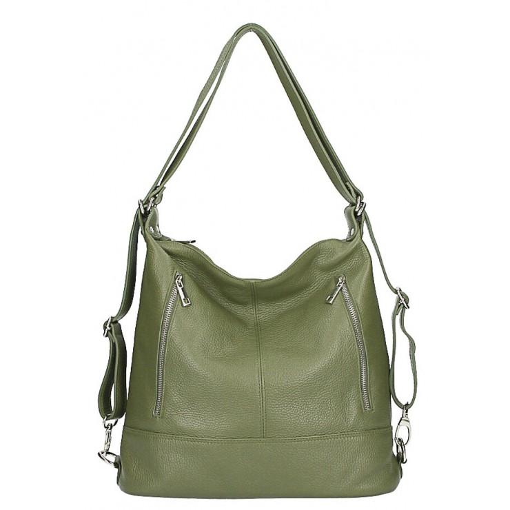 Dámska kožená kabelka/batoh MI258 zelená oliva Made in Italy