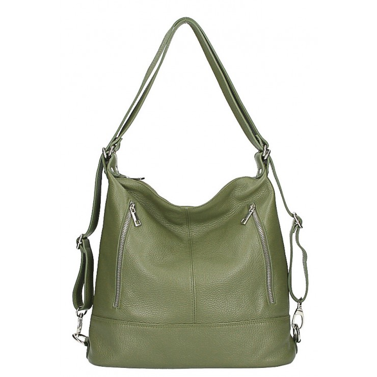 Genuine Leather Shoulderbag/Backpack MI258 green olive Made in Italy