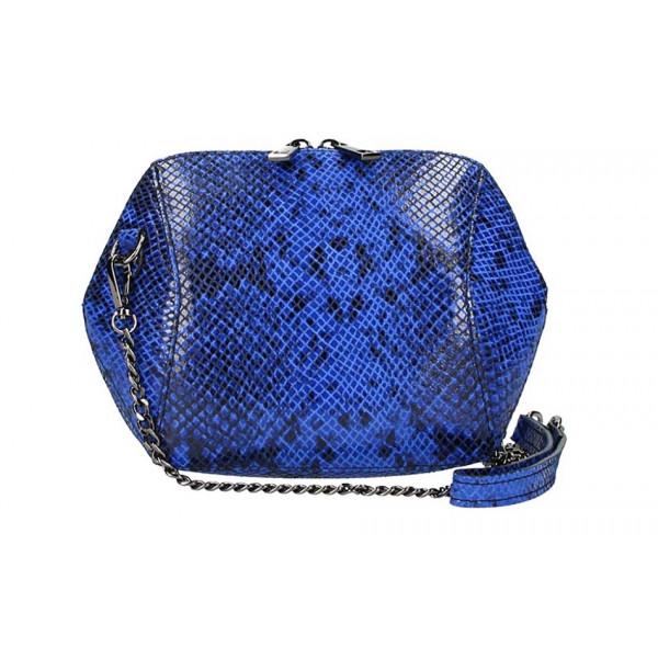 Azurovo modrá kožená kabelka 446