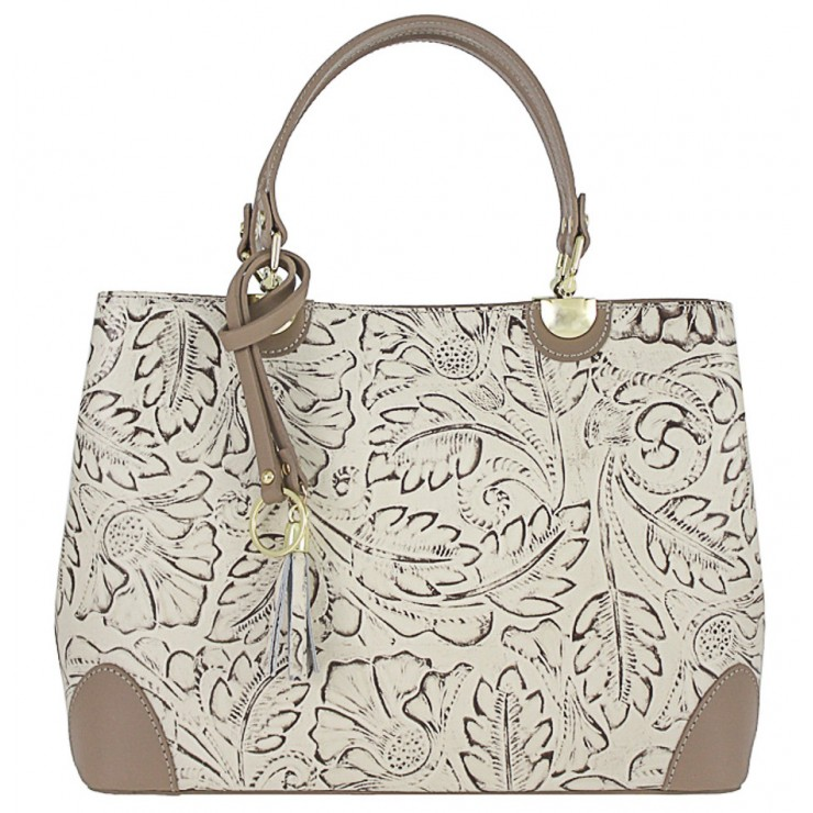 Genuine Leather Handbag 502 beige