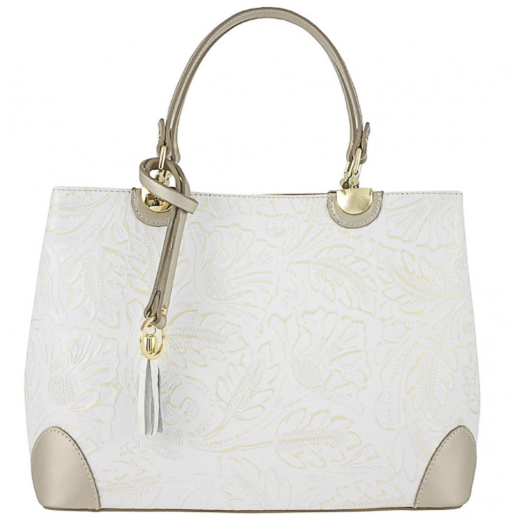 Genuine Leather Handbag 502 white+gold