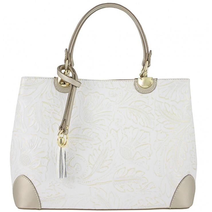 Kožená kabelka 502 bílá+zlatá