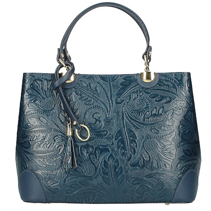 Genuine Leather Handbag 502 dark blue