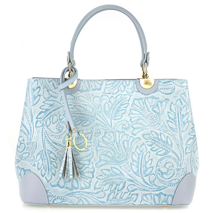 Genuine Leather Handbag 502 light blue
