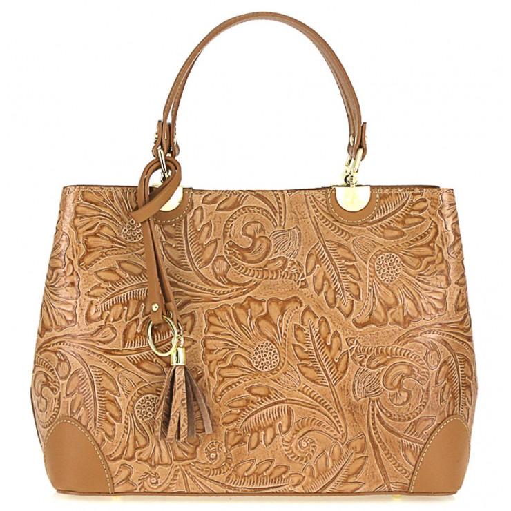 Genuine Leather Handbag 502 cognac