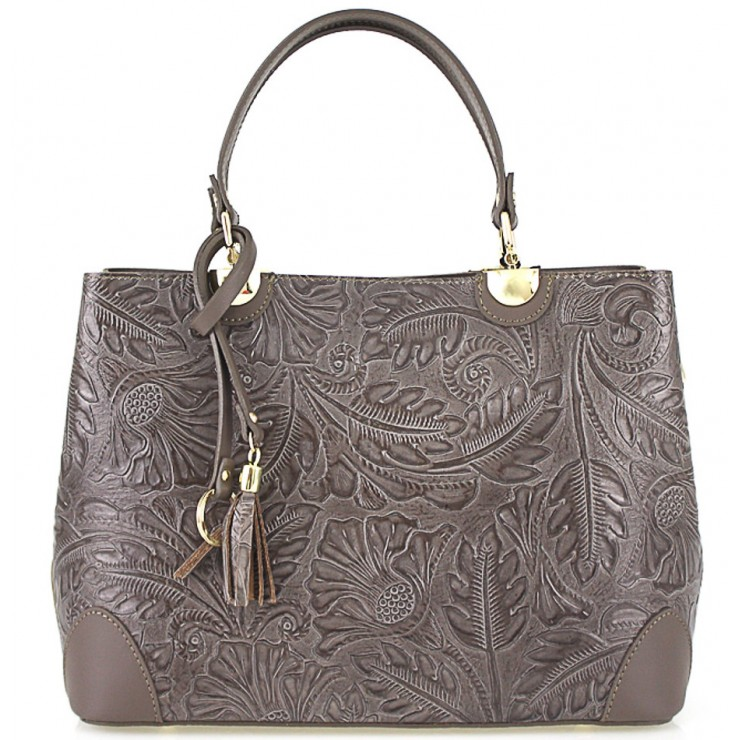 Genuine Leather Handbag 502 dark taupe