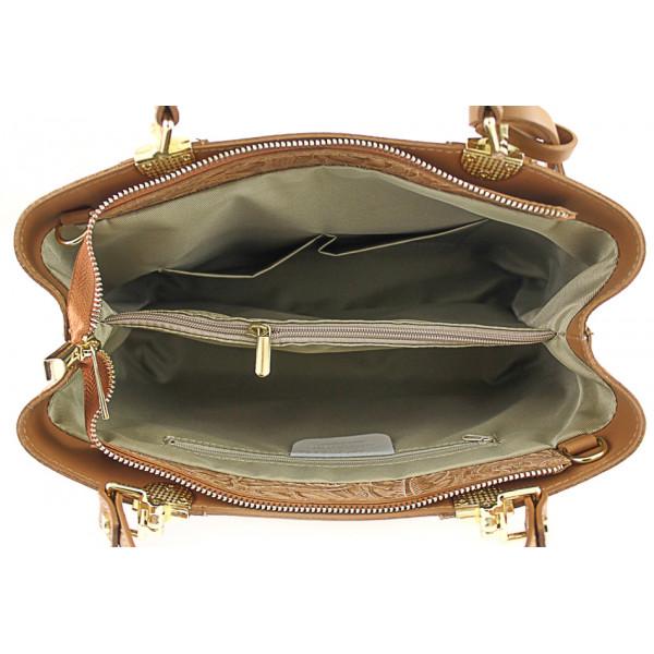 Kožená kabelka 502 tmavá šedohnedá