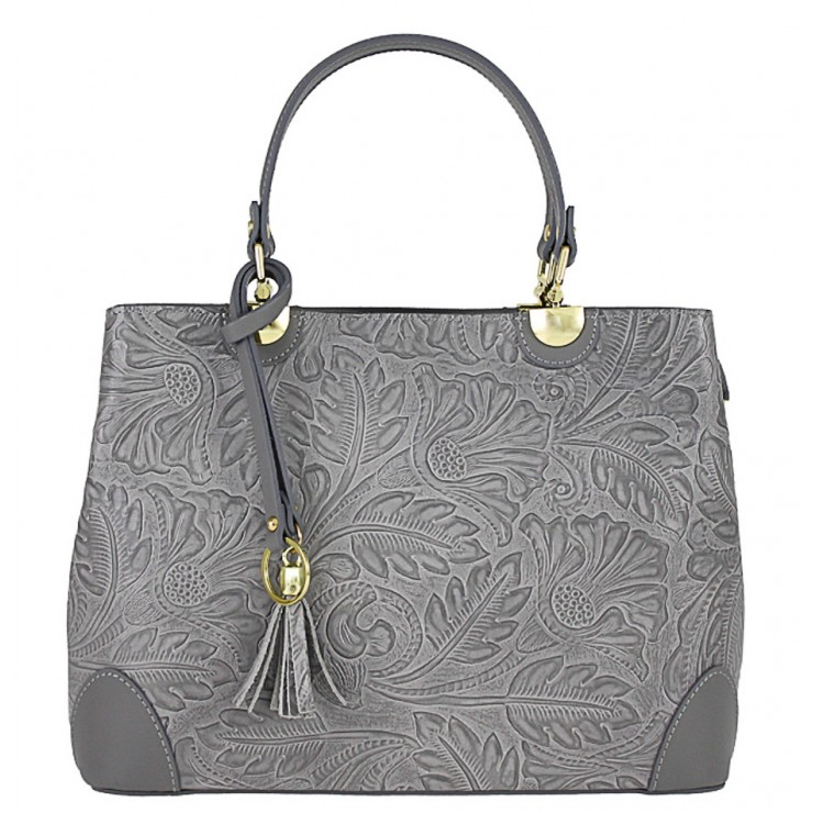 Genuine Leather Handbag 502 dark gray