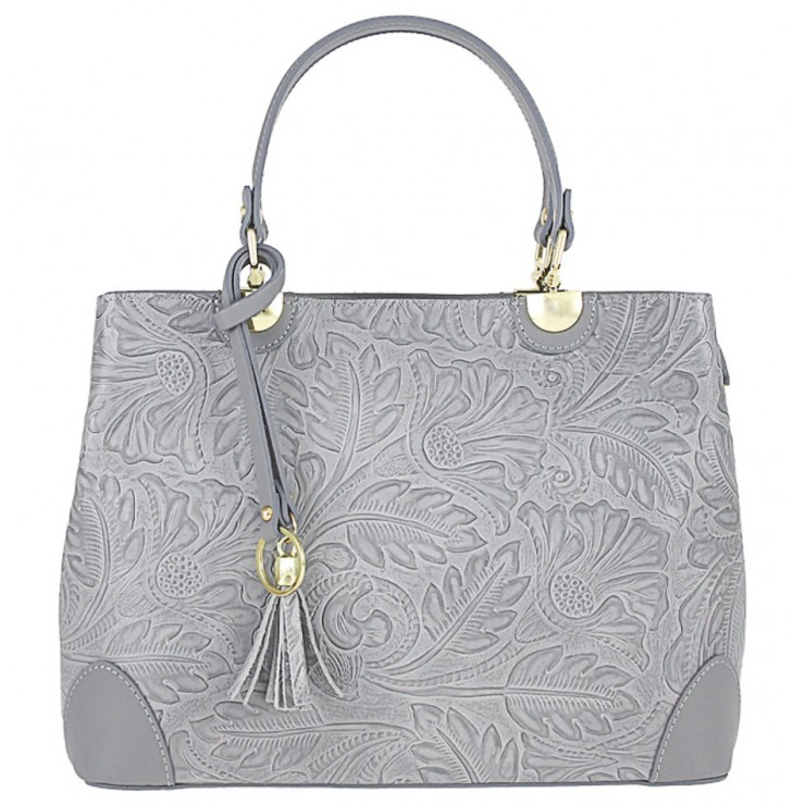 Genuine Leather Handbag 502 gray