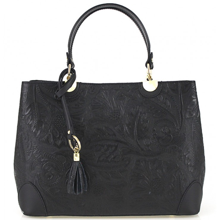 Genuine Leather Handbag 502 black