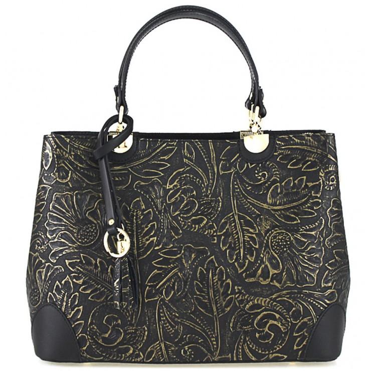 Kožená kabelka 502 čierna+zlatá