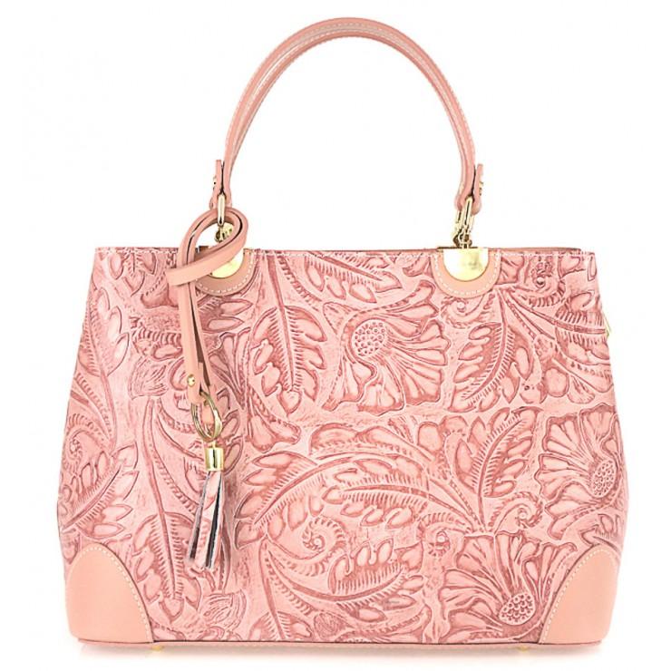 Genuine Leather Handbag 502 pink