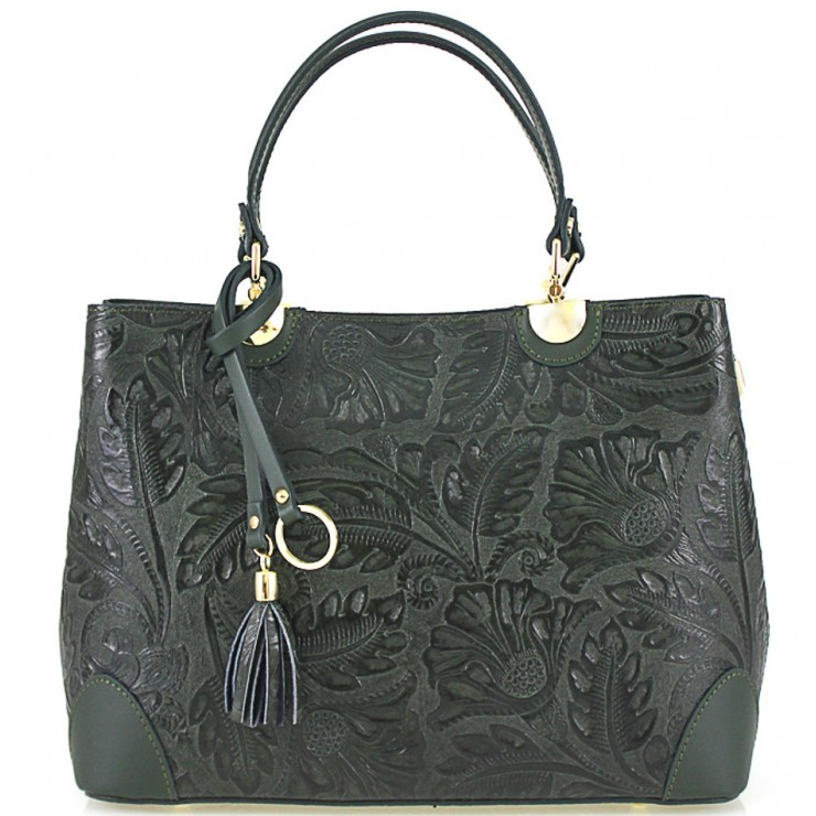 Genuine Leather Handbag 502 dark green